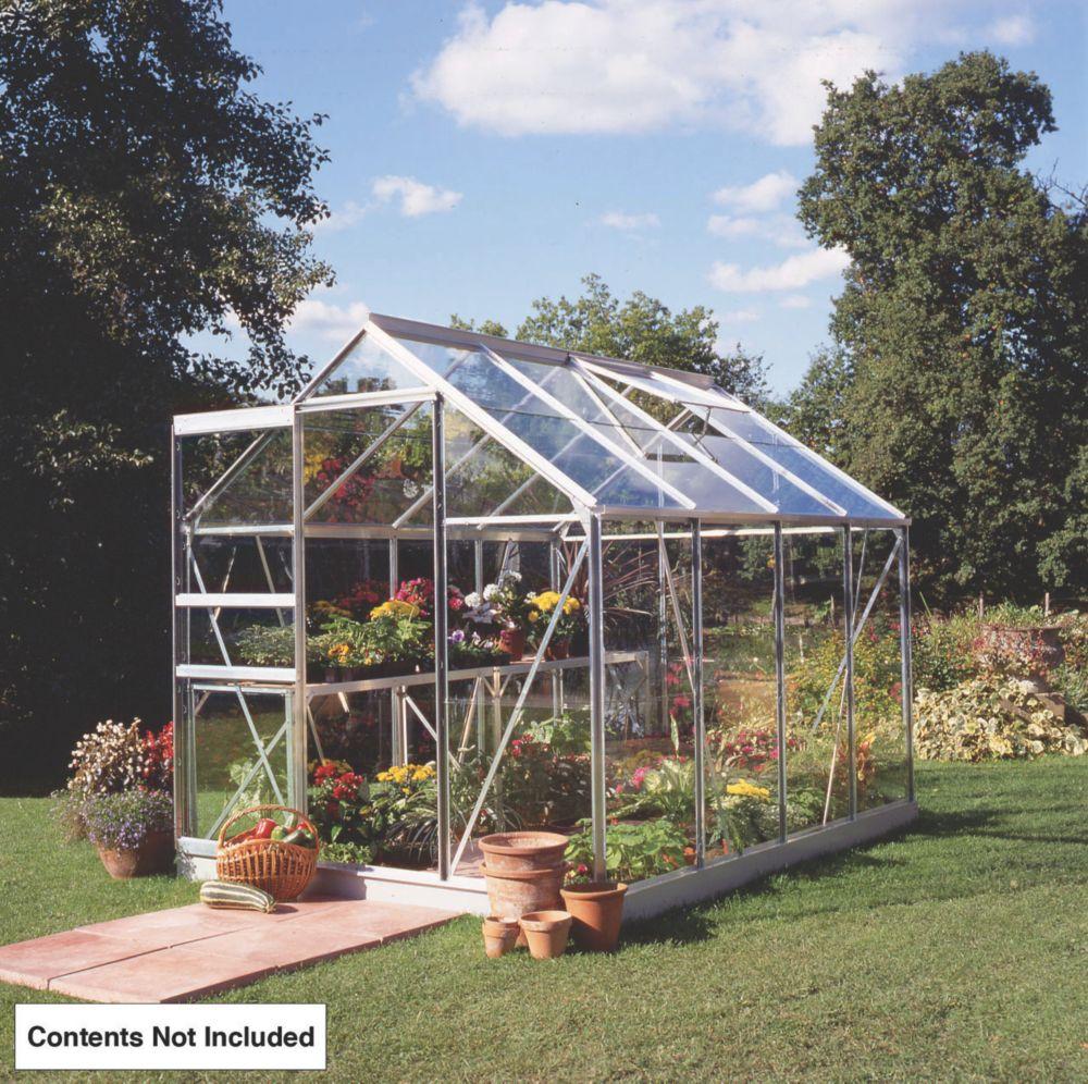 Image of Halls Popular Framed Greenhouse Aluminium 6' x 8'