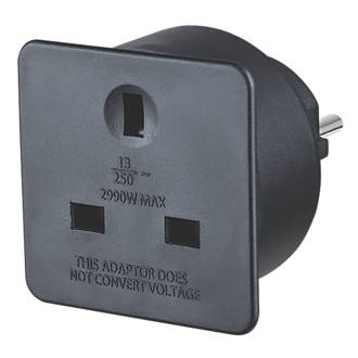 Image of Masterplug 13A Unfused UK to Euro Travel Adaptor Black