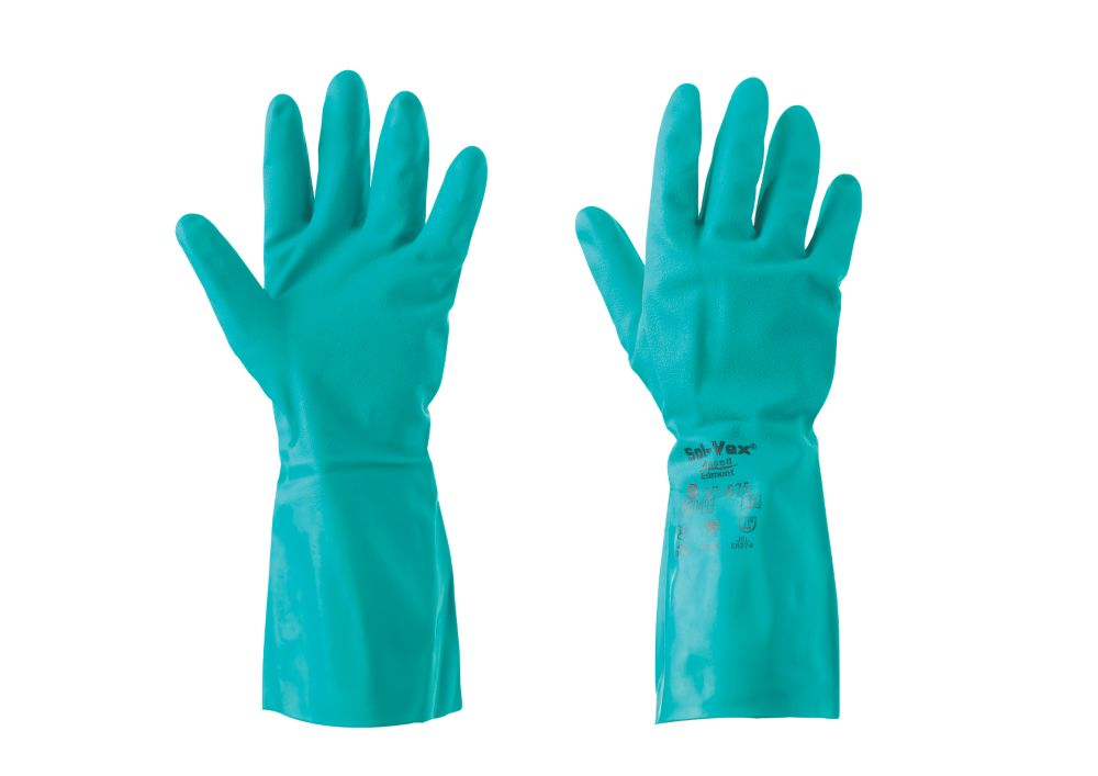 Image of Ansell Sol-Vex 37-675 Chemical-Resistant Gloves Blue Large