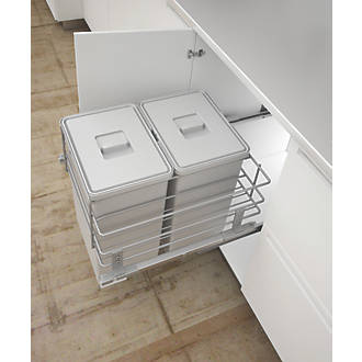 Image of Hafele Pull-Out Kitchen Bin Grey 2 x 24Ltr