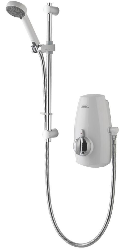 Image of Aqualisa Aquastream Gravity-Pumped White / Chrome Thermostatic Power Shower