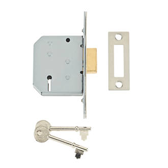 Image of Union 3 Lever Satin Chrome 3-Lever Mortice Deadlock 68mm Case - 45mm Backset