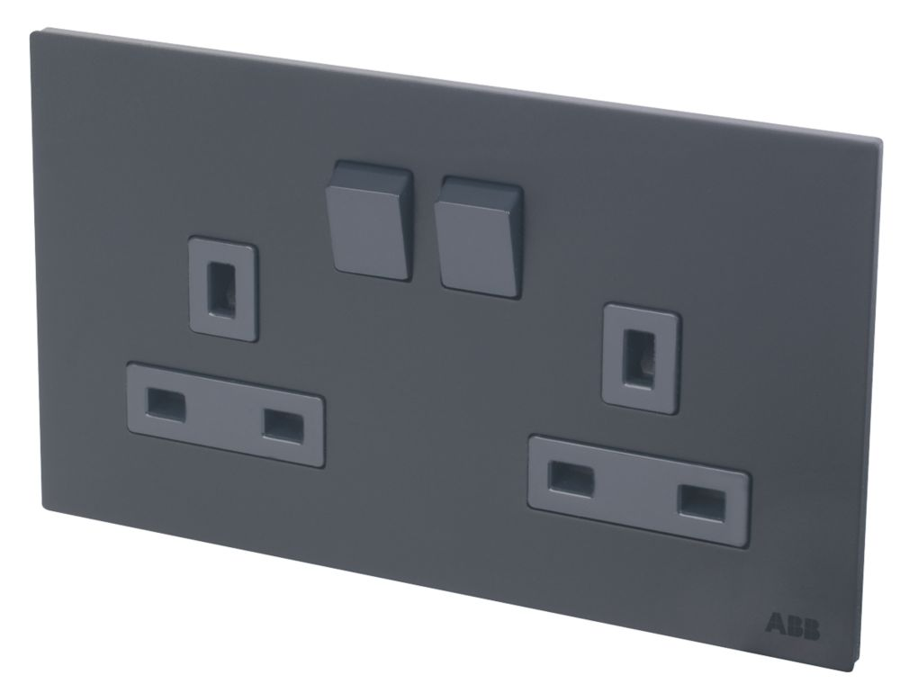 Image of ABB 13A 2-Gang DP Switched Socket Satin Stainless Steel Black Silk