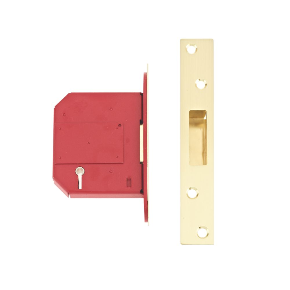 """Image of Union BS 5-Lever Mortice Deadlock Brass 3"""" / 76mm"""