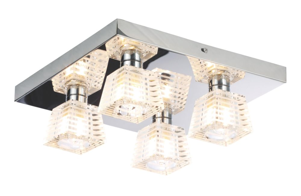 Bathroom Lights Screwfix spa aquila 4-light bathroom ceiling light chrome g9 28w | bathroom