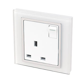 Image of Retrotouch Crystal 13A 1-Gang DP Switched Plug Socket White Glass