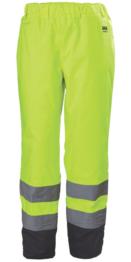 "Image of Helly Hansen Alta Hi-Vis Trousers Elasticated Waist Yellow Medium 33-34"" W 32"" L"