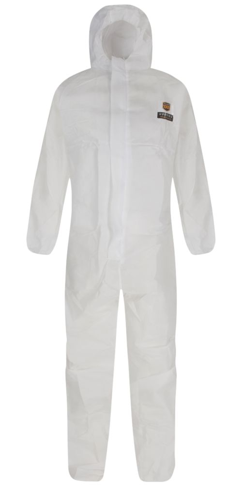 """Image of Alpha Solway Alphashield 1000 FR Type 5/6 Protective Coverall White Large 39-43"""" Chest 32"""" L"""