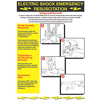 Electric Shock Emergency Resuscitation Safety Poster 600 X 420mm