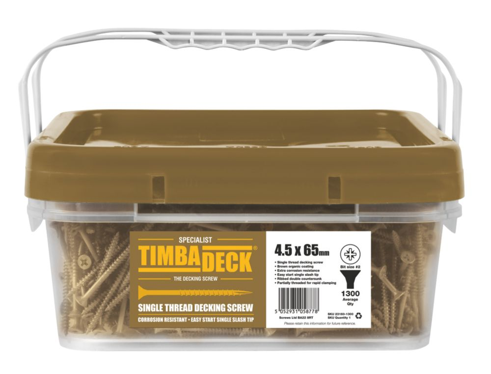 Image of Timbadeck Double Countersunk Carbon Steel Decking Screws 4.5 x 65mm 1300 Pack
