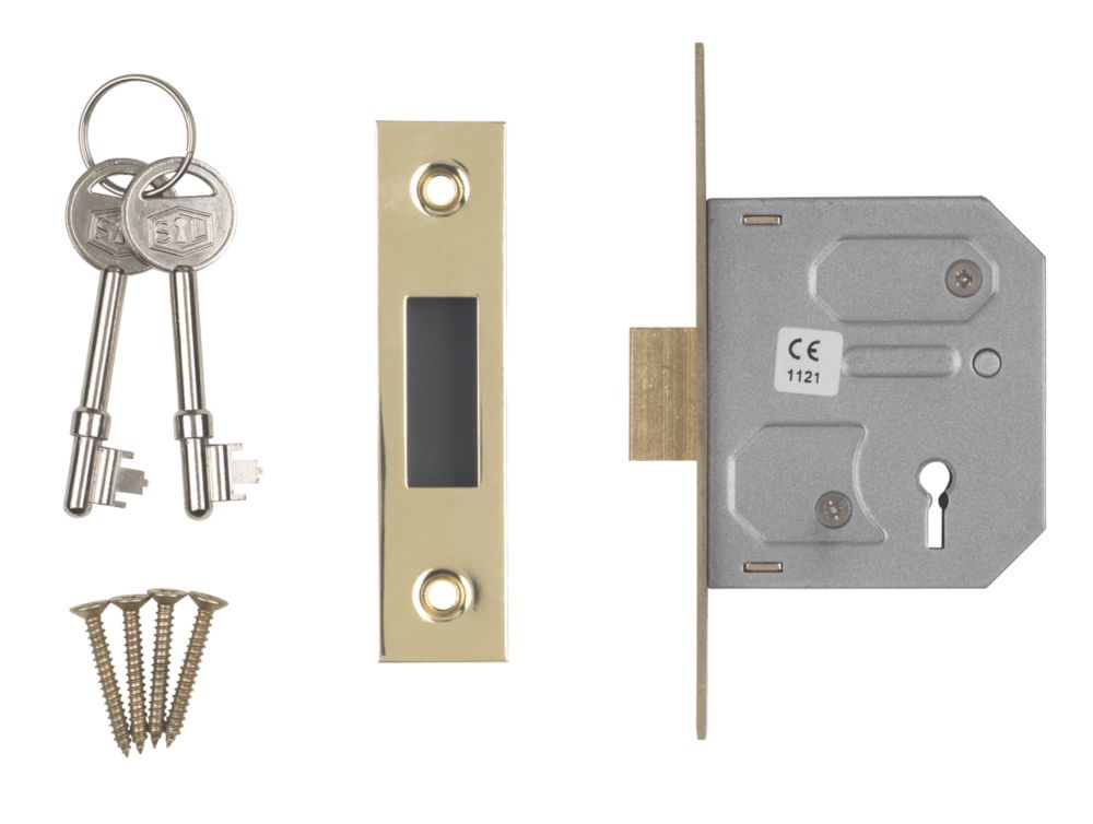 "Image of Smith & Locke 3-Lever 3-Lever Mortice Deadlock Electric Brass 2"" / 64mm"
