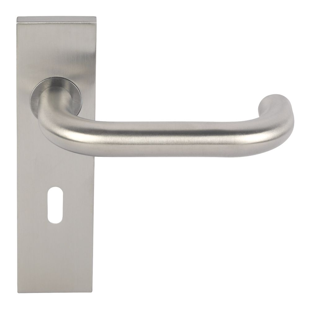 Image of Eurospec Safety Saftey Lever on Backplate Lock Pair Satin Aluminium