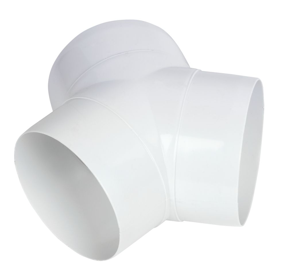 Image of Manrose Circular 'Y' Piece Connector White 100mm