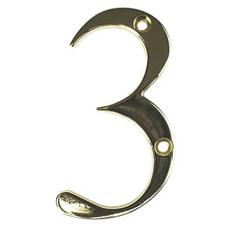 Image of Fab & Fix Door Numeral 3 Gold 80mm