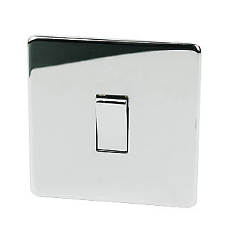 Image of Crabtree 10AX Switch Polished Chrome Flat Plate 1-Gang 2-Way