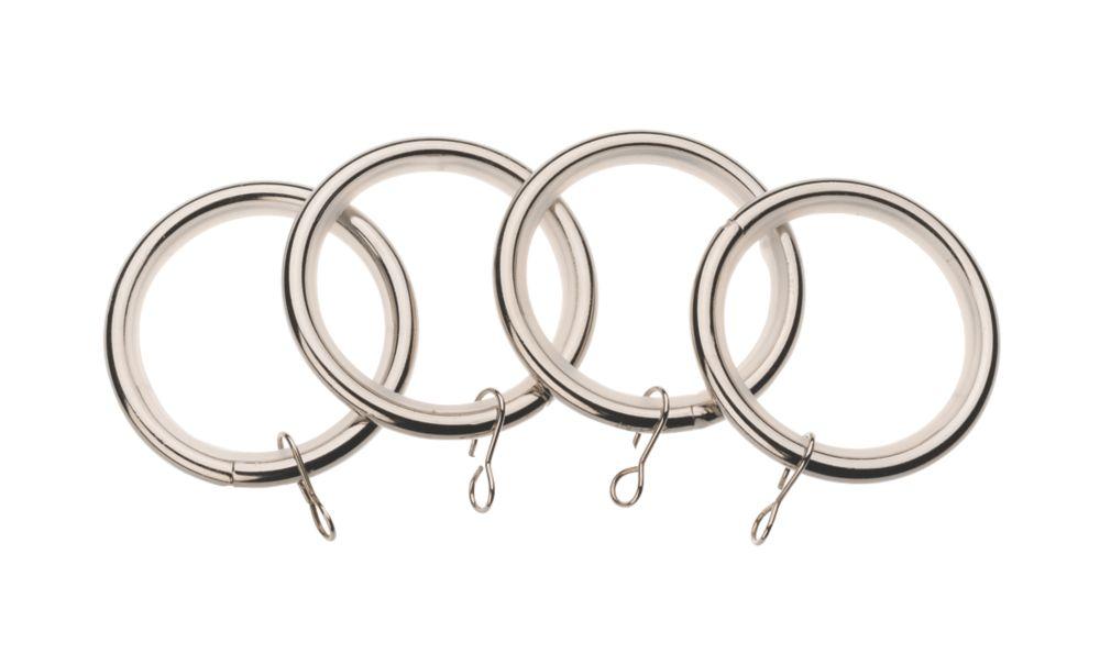 Image of Universal 52mm Metal Curtain Rings Stainless Steel 4 Pack