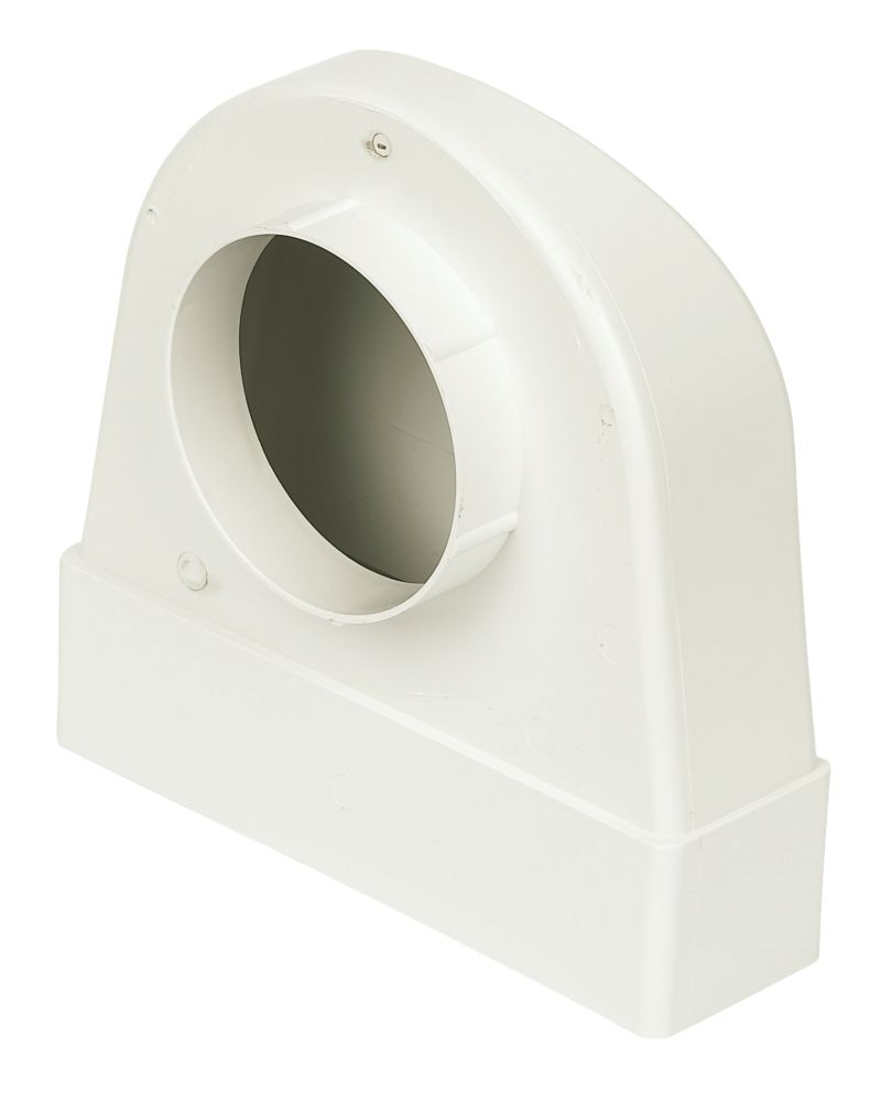 Image of Manrose PVC Round to Rectangular Flat Channel Appliance Connector Elbow 90 Bend White 212mm x 100mm