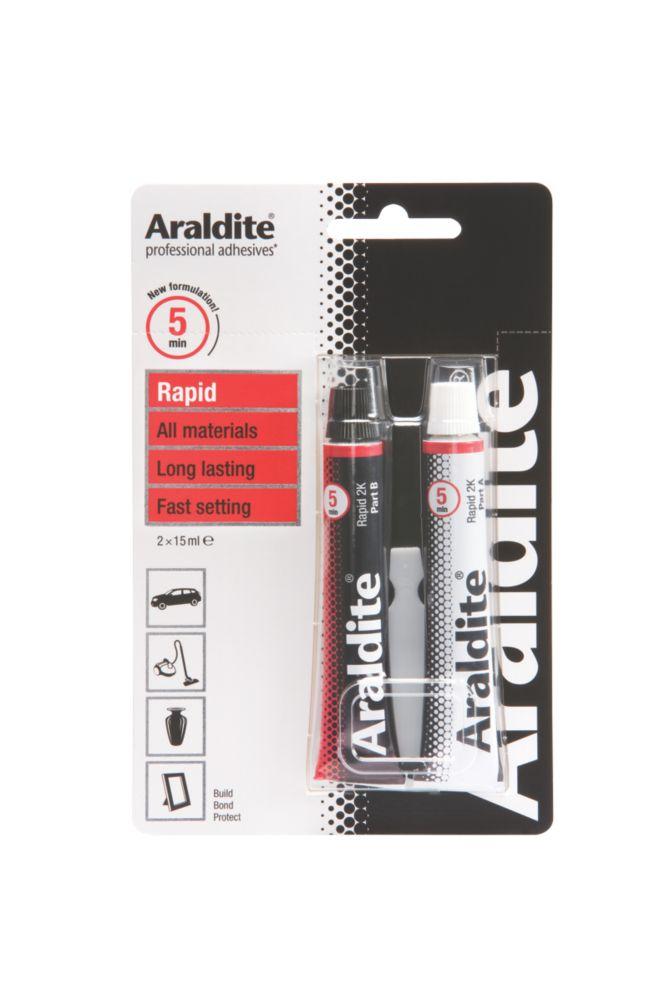 Image of Araldite 2-Part Epoxy Adhesive Tubes Opaque 2 x 15ml