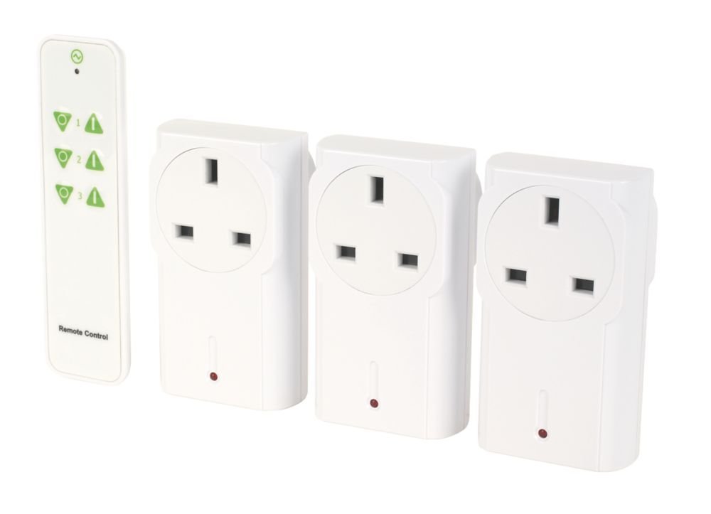 Image of LightwaveRF 13A Plug-Through On/Off Adapters with Remote Control Pack of 3