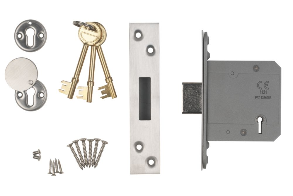 """Image of Smith & Locke BS 5-Lever Mortice Deadlock Satin SS 3"""" / 76mm"""