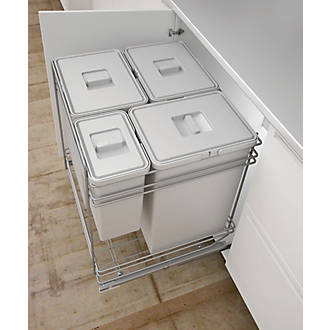 Image of Hafele Pull-Out Kitchen Bin Grey 78Ltr