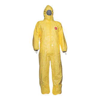 "Image of DuPont Tychem C Disposable Chemical Coverall Yellow X Large 45"" Chest 31"" L"