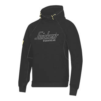 "Image of Snickers Logo Hoodie Black Large 43"" Chest"