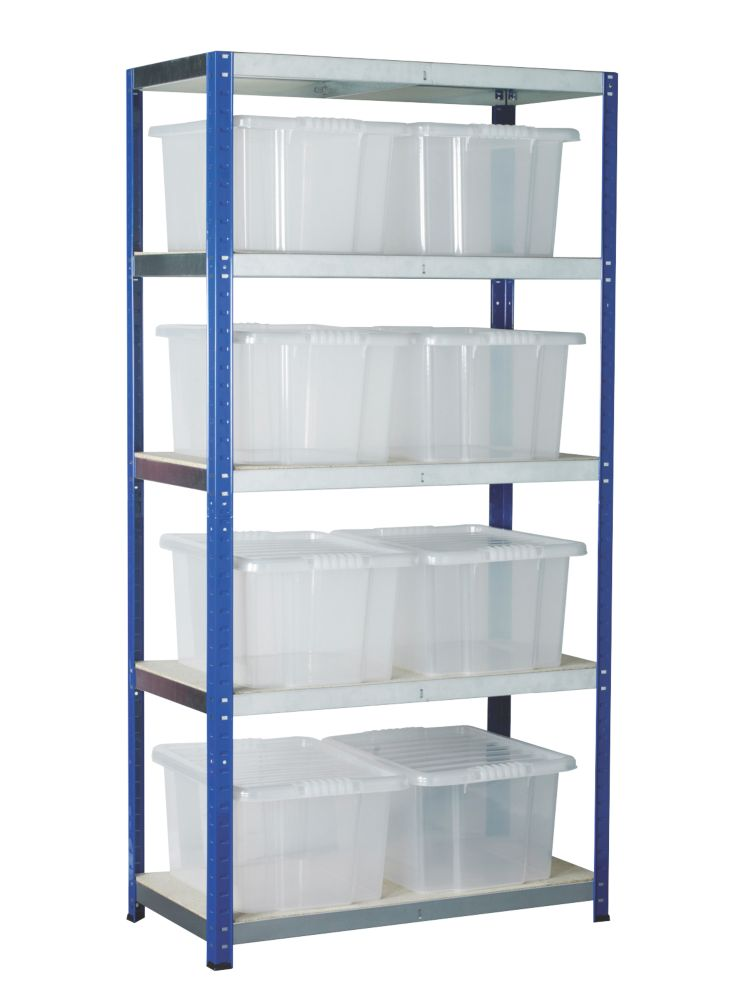 Image of Barton Ecorax Shelving Silver/Blue 900 x 450 x 1800mm