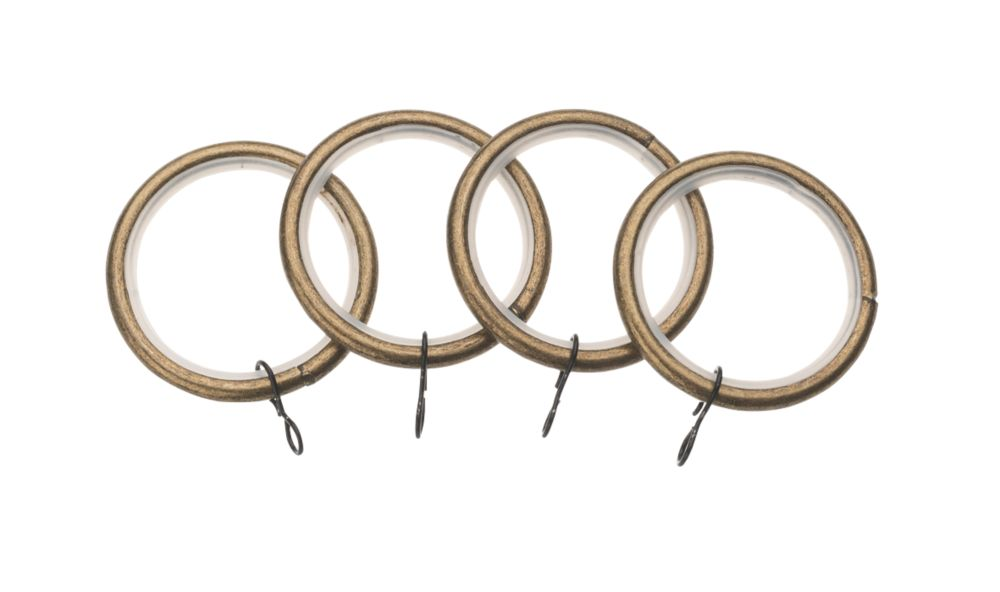 Image of Universal 52mm Metal Curtain Rings Brass 4 Pack