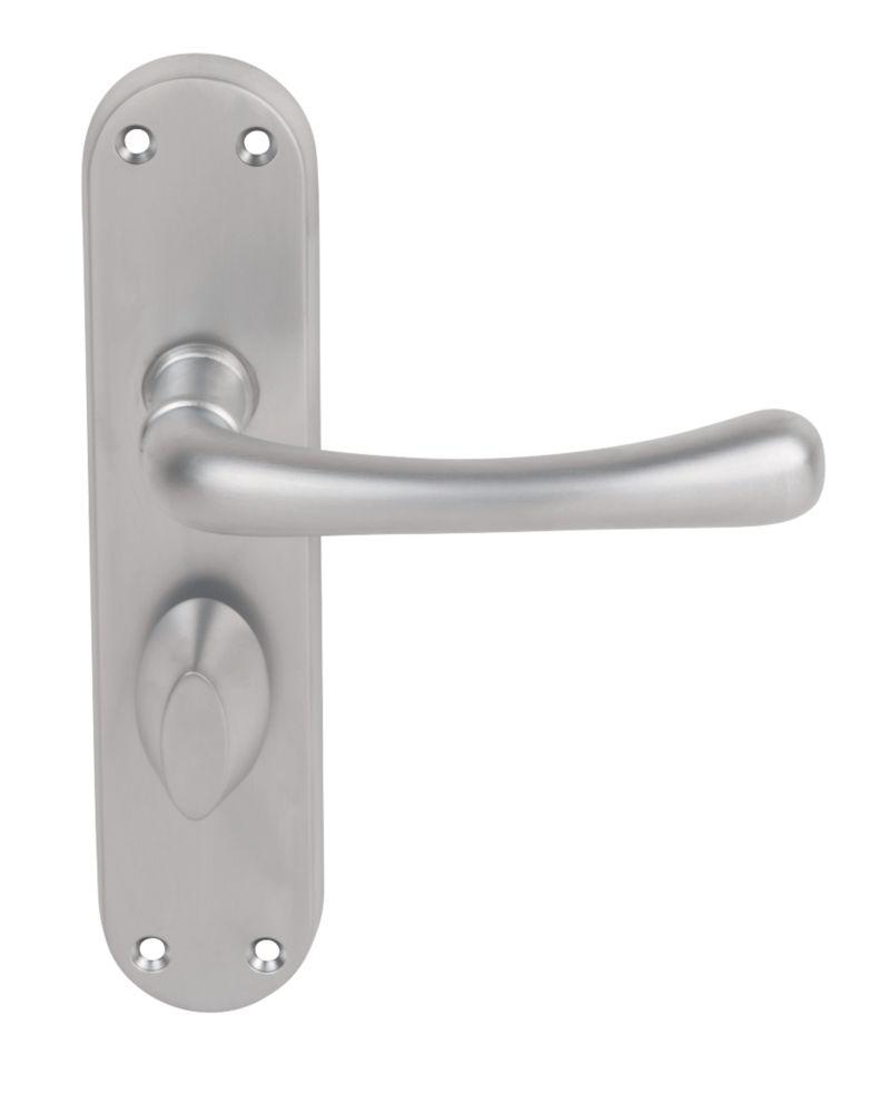 Image of Serozzetta Ibra Door Handle on Short Backplate Type A Pack Satin Chrome