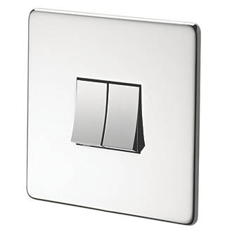 Image of Crabtree 10AX Switch Polished Chrome Flat Plate 2-Gang 2-Way