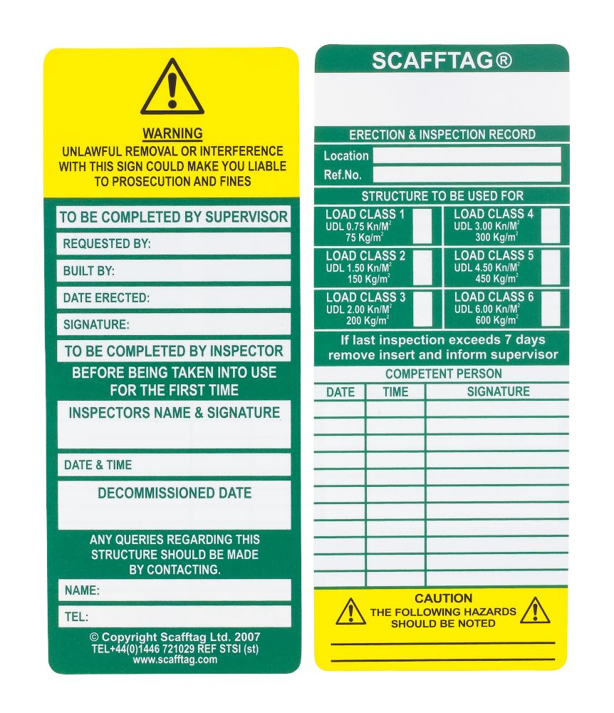 Image of Scafftag Scaffold Standard Inspection Inserts Pack of 10