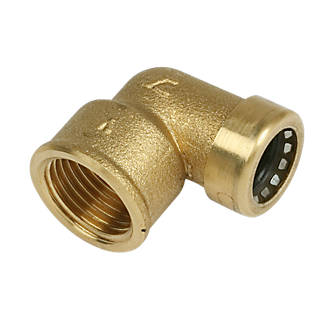 """Image of Tectite Sprint Brass Push-Fit Adapting 90° Female Elbow 15mm x ½"""""""