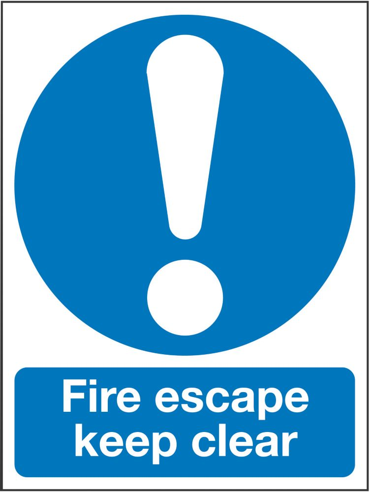"""Image of Fire Escape Keep Clear"""" Sign 200 x 150mm"""