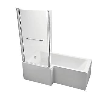 Ideal Standard L Shape Shower Bath Left Hand Acrylic No Tap Holes 1700mm