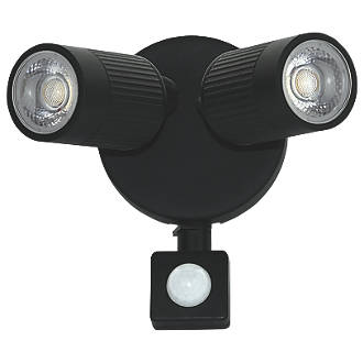 Image of Luceco LEXWT7B40P LED PIR Outdoor Wall Light Black 720lm 10W