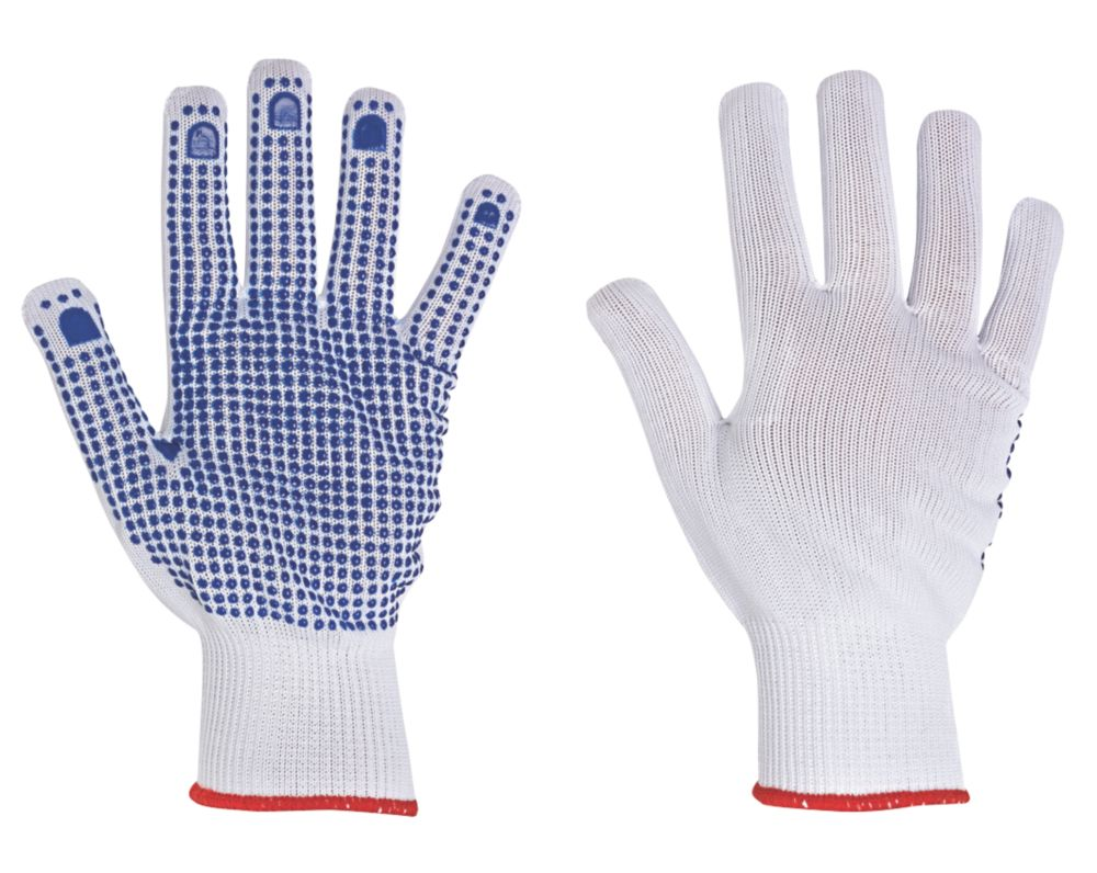 Image of Keep Safe Polka Dot Picking Gloves White/Blue X Large
