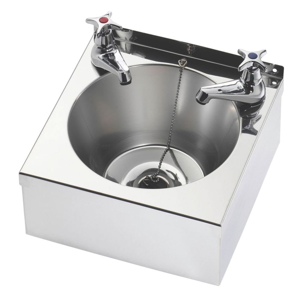 Image of Franke Model A Wall-Hung Washbasin 2 Taps S/Steel 1-Bowl 305 x 270mm