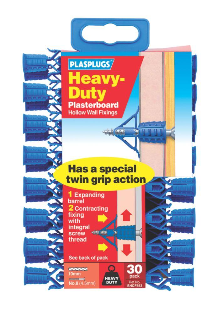 Image of Plasplugs Heavy Duty Plasterboard Fixings Blue 4.5mm 30 Pack