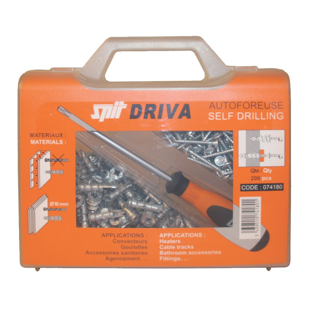 Image of Spit Driva TP12 Self-Drill Plasterboard Fixing Case & Screwdriver 8 x 35mm 200 Pack
