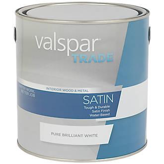 Image of Valspar Trade Satin Wood & Metal Paint Pure Brilliant White 2.5Ltr