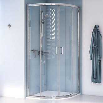Image of Aqualux Edge 8 Quadrant Shower Enclosure Reversible Left/Right Opening Polished Silver 800 x 800 x 2000mm