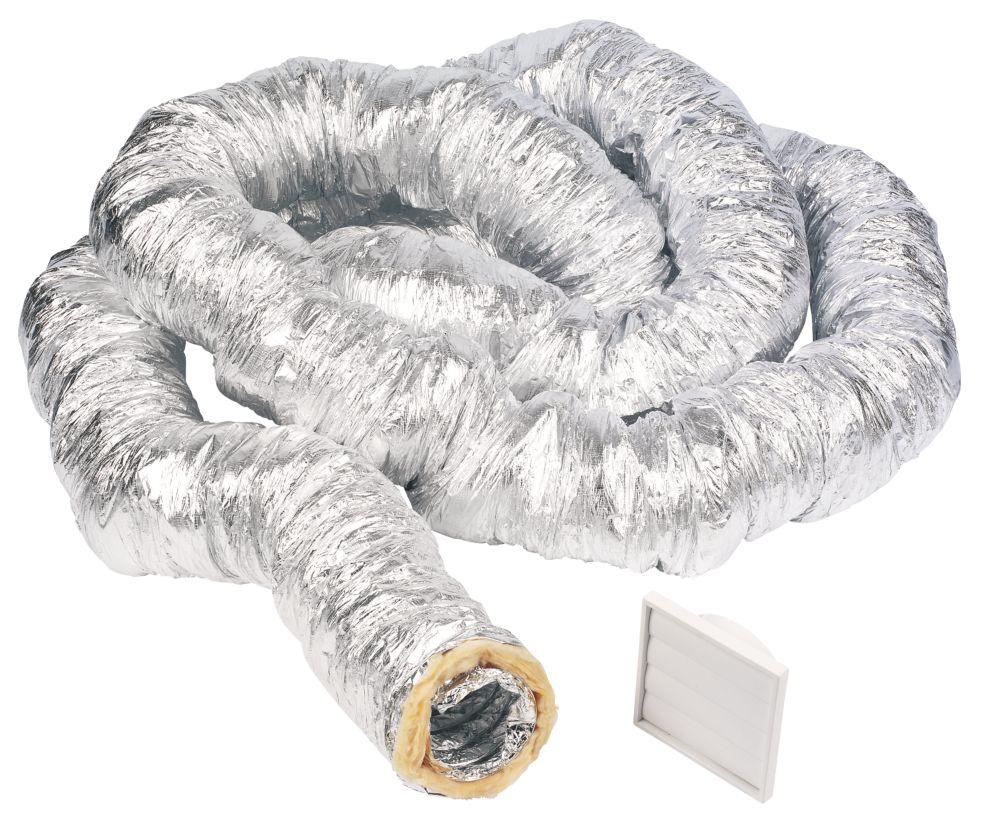 Image of Manrose Aluminium Insulated Flexible Ducting Hose Silver 10m x 127mm