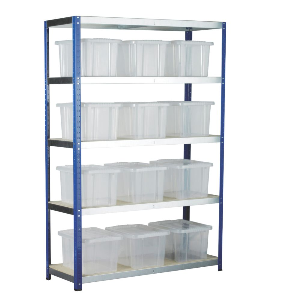 Image of Barton Ecorax Shelving Silver/Blue 1200 x 450 x 1800mm