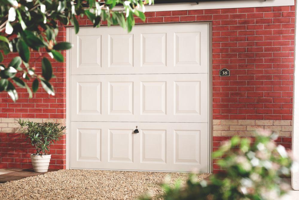 """Image of Georgian 7' 6 """" x 7' Framed Steel Garage Door White"""