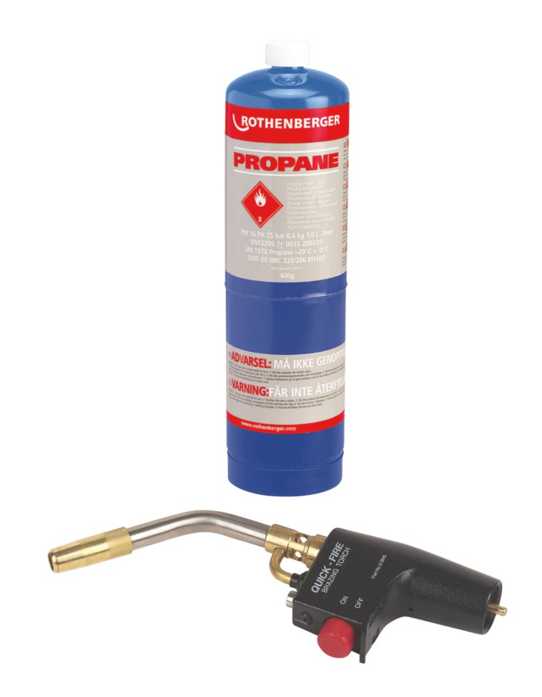 Image of Rothenberger Quick Fire Torch Propane Gas Cylinder