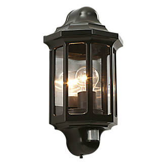 Saxby satin black es pir traditional outdoor wall light 60w saxby satin black es pir traditional outdoor wall light 60w outdoor wall lights screwfix mozeypictures Image collections