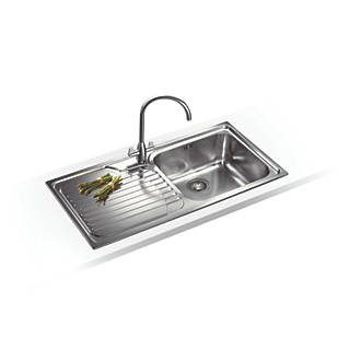 Franke Inset Kitchen Sink 18 / 10 Stainless Steel 1 Bowl 1000 x ...