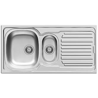 Pyramis Aurora Kitchen Sink 18 / 10 Stainless Steel 1.5 Bowl 1000 ...