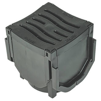 Image of FloPlast FloDrain Corner Unit Black 118mm x 136mm